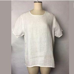 Flax White Linen Lagenlook Shirt Sz S USA Flawe